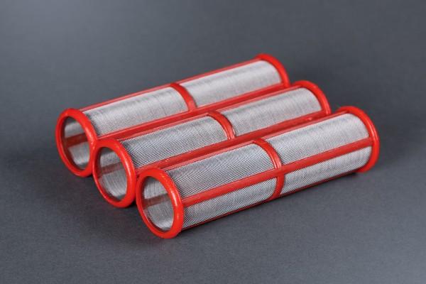 3x Hauptfilter mittel für Graco Airlessgeräte, rot/200 Maschen, Ø 31 mm, Höhe 114 mm