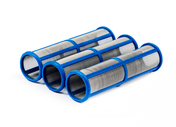 3 Stück Hauptfilter mittel für Graco Airlessgeräte, blau/100 Maschen, Ø 31 mm, Höhe 114 mm