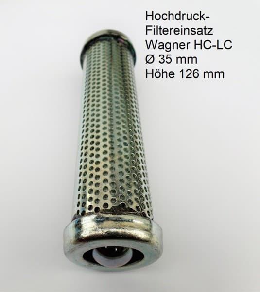 Hochdruck- Filtereinsatz passend für Wagner HC-LC Titan Speeflow Ø 35 mm Höhe 126 mm