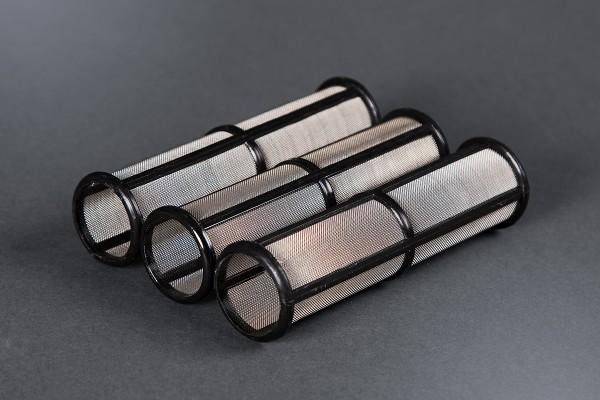 3x Hauptfilter mittel für Graco Airlessgerät, schwarz/60 Maschen, Ø 31 mm, Höhe 114 mm