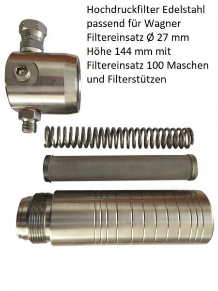 Hochdruck- Filtersatz Lang Edelstehl mit Filtereinsatz 100 Maschen und Fiterstütze