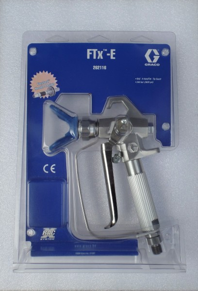 Airlesspistole Graco FTX-E mit 4 Fingerabzug Düsenhalter RAC X Drehgelenk und Filter ohne Düse