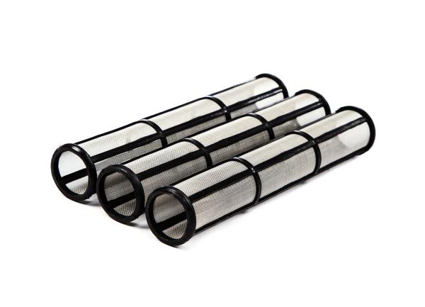 3 Stück Hauptfilter lang 60 Maschen schwarz für Graco Airlessgeräte Ø 31 mm, Höhe 180 mm