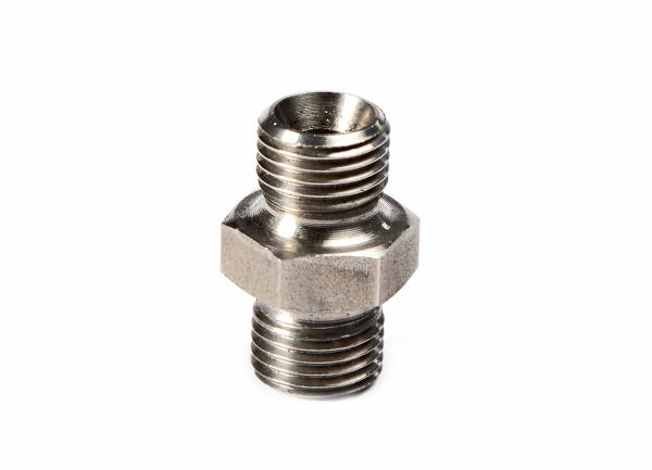 "Doppelstutzen Schlauchverbinder 3/8"" NPS × M16 × 1,5 mm Edelstahl 500 bar"
