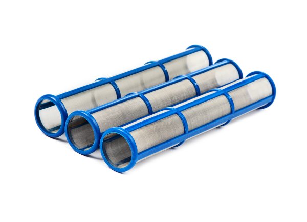 3 Stück Hauptfilter lang 100 Maschen blau für Graco Airlessgeräte Ø 31 mm, Höhe 180 mm